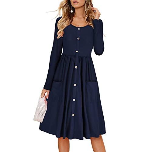 44b5b7844822 Dearlove Womens Long Sleeves Button Down O Neck Swing Midi Dress with  Pockets S-XL