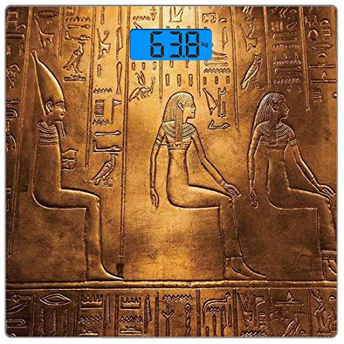 Digitale Präzisionswaage für das Körpergewicht Platz ägyptisch Ultra dünne ausgeglichenes Glas-Badezimmerwaage-genaue Gewichts-Maße,Ägyptische Hieroglyphen-alte Texte logografische und antike alphabet