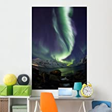 Wallmonkeys WM362471 Aurora Borealis Reflected Between Fjords in Tromso Peel and Stick Wall Decals (72 in H x 48 in W), Co...
