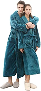 Mens Womens Soft Spa Robe Full Length Couples Fashion Warm Cozy Long Sleeved Plush Shawl Bathrobe Coat