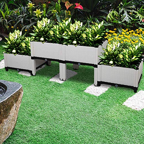 Hullovota Easy Assembly Planter Raised Beds Kits Set of 4, Plastic Elevated Garden beds with Brackets for Flowers Vegetables, Outdoor Indoor Planting Box Container for Garden Patio Balcony Restaurant