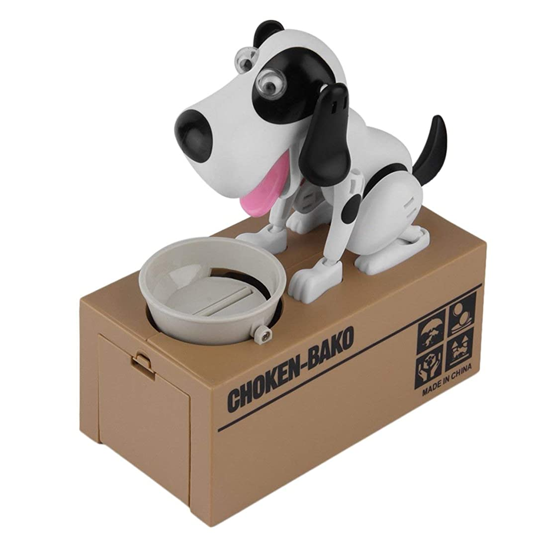 することになっている一晩枯渇するSaikogoods 耐久性に優れたロボット犬貯金箱自動コインマネーバンクかわいい犬モデルマネーバンクマネーセービングボックスコインボックスを盗みました 黒+白