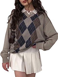 Young Forever Argyle Plaid Y2k Pull pour femme avec col en V Vintage Tricoté 90 Harajuku Tricoté Automne Hiver