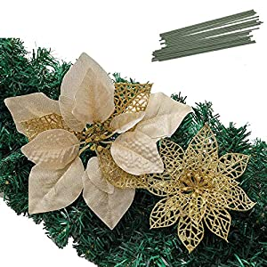 Christmas Poinsettia Ornament, Glitter Christmas Tree Decoration, Artificial Poinsettia Flower Xmas Holiday Home Decor, Pack of 24, Gold