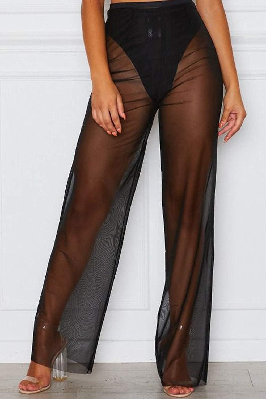 bebiullo Womens Perspective Sheer Mesh Pants Swimsuit Bikini Bottom Cover ups Pants
