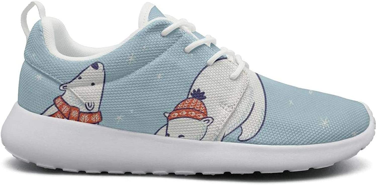 FEWW11 Women Cute Lightweight shoes Sneakers Polar Bear Holiday Snowflake Breathable Running Lace-Up