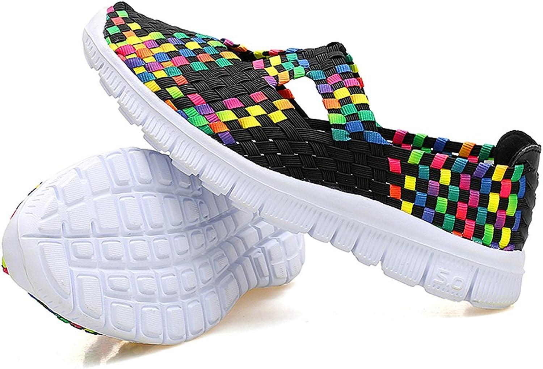 Sanearde Women Slip on Walking shoes Woven Elastic Mary Jane Flat Lightweight Fashion Sneakers