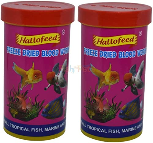 Hallofeed Freeze Dried Blood Worms FishFood (20 GMS - Pack of 2 Pieces)