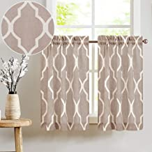 Moroccan Tile Printed Tier Curtains for Kitchen Lattice Cafe Half Window Panels 36 inch Length Quatrefoil Flax Linen Blend Textured Curtain Set 1 Pair Taupe