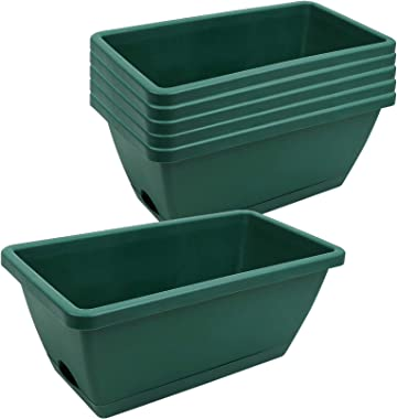 Beyoung 6 Packs Window Box Planter, 14 x 7.4 x 5.8 Inches Green Flower Window Boxes Plastic Vegetable Planters, for Windowsil