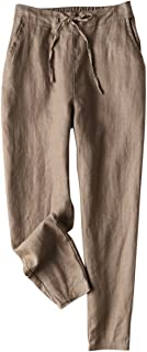 Women's Tapered Pants 100% Linen Drawstring Back Elastic Waist Pants Trousers with Pockets