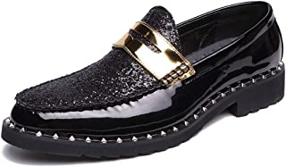 RongAi Chen Men's Fashion Oxford Casual Personality Stitching Rustproof Metal Decoration Slip On Formal Shoes (Color : Black, Size : 7.5 UK)