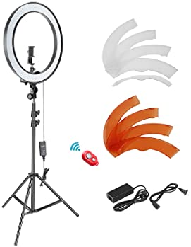Neewer 18-inch SMD LED Ring Light Dimmable Lighting Kit with 78.7-inch Light Stand, Filter and Hot Shoe Adapter for C...