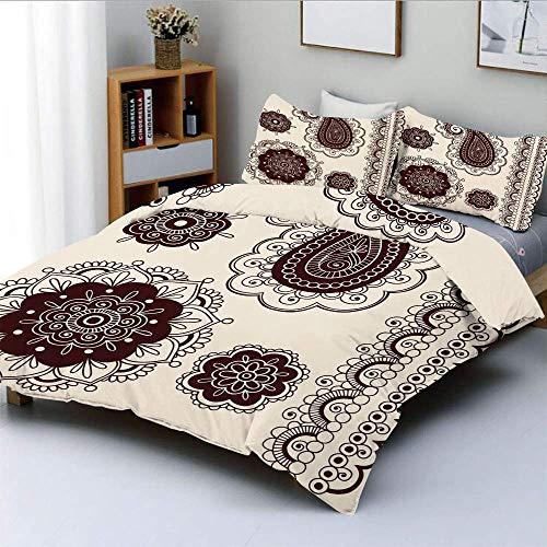 Juego de funda nórdica, intrincado tatuaje dibujado a mano Paisley Doodle Diseño inspirado en la cultura oriental Decorativo Juego de ropa de cama de 3 piezas con 2 fundas de almohada, crema marrón os