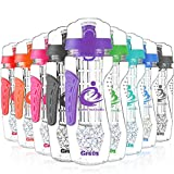 Grsta Fruit Infuser Water Bottle, Large 1 Litre + Freezer Ball & Infusion Rod + Portable Sleeves, BPA Free Tritan Plastic Detox Bottle for Sport, Gym, Yoga, Leak Proof & Flip Top Lid (Purple)