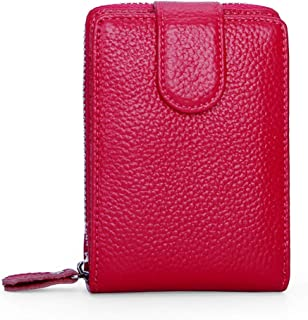 Leather Leather Driver's License Leather Case Leather Card Holder Zipper Wallet Multi-Function Driving License Waterproof (Color : Red, Size : S)