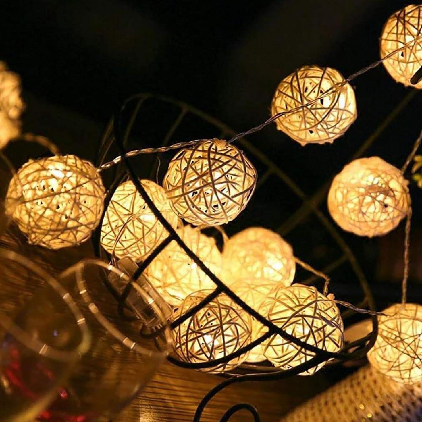 わずかにしみスイッチMELODAY ストリングライト イルミネーションライト 電飾 5M 40球 USB給電式 クリスマス パーティー ハロウィン 結婚式 誕生日 新年 祝日 バレンタインデー LED 飾りライト 防水 電球色 屋内 屋外 ボール型 (USB給電式)