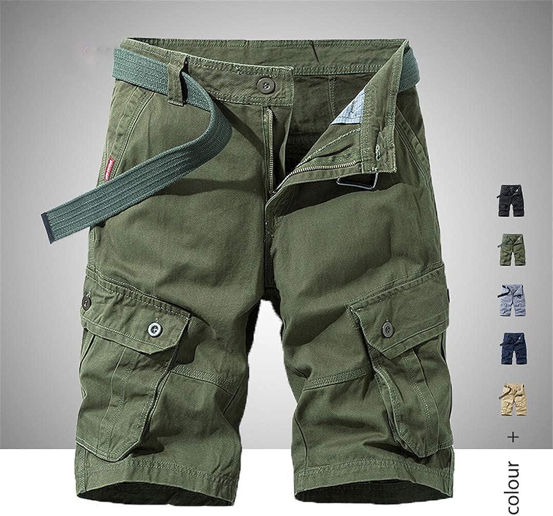 R-Hansets Men's Military Cargo Shorts Cotton Shorts Loose Multi-Pocket Shorts Bermuda Shorts