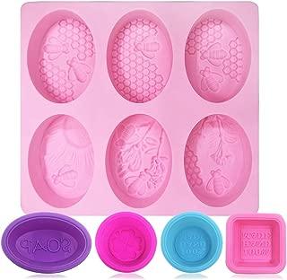 FineGood - Moldes para hacer jabón, silicona suave, apto para uso alimentario, para hacer magdalenas, magdalenas, hacer manualidades, color rosa, azul, rojo rosa, morado