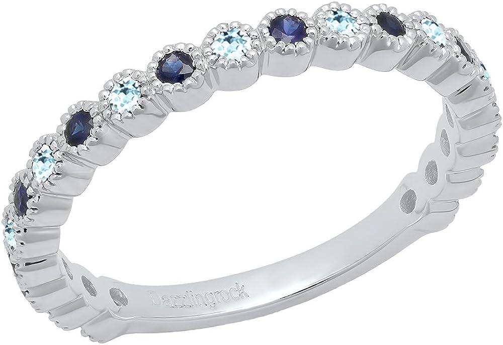 Dazzlingrock Collection 14K Round Gemstone & Blue Sapphire Eternity Stackable Anniversary Wedding Band, White Gold