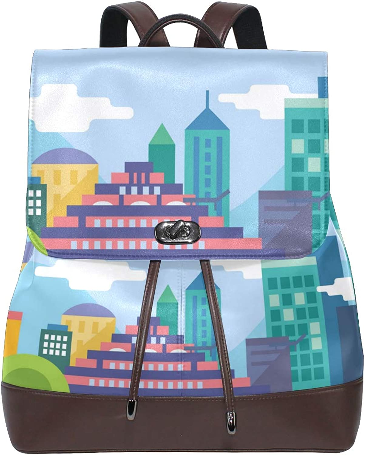 DEZIRO Leather Animated City Painting School Pack Backpacks Travel Bag