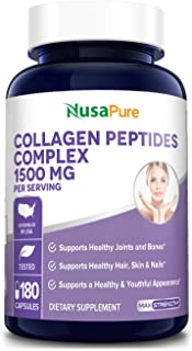 Collagen Peptides Complex 1500mg 180caps (Non-GMO & Gluten-Free) Supports Healthy Joints, Hair, Skin and Bones*