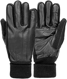 Mens Cuffed Black Leather Touchscreen Text & Tech Gloves Thinsulate