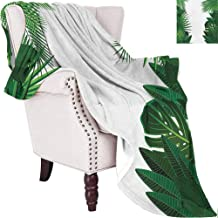 MKOK Leaf Commercial Grade Printed Blanket Exotic Fantasy Hawaiian Tropical Palm Leaves with Stylish Floral Graphic Artwork Queen King W55 x L55 Inch Green White