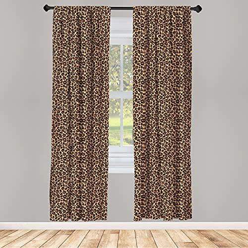 "Ambesonne Leopard Print Curtains, Orange Color Leopard Texture Illustration Exotic Fauna Inspired Pattern, Window Treatments 2 Panel Set for Living Room Bedroom Decor, 56"" x 95"", Orange Black"