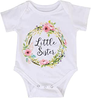 Weixinbuy Baby Girls' Sibling Shirts Sisters Matching Rompers