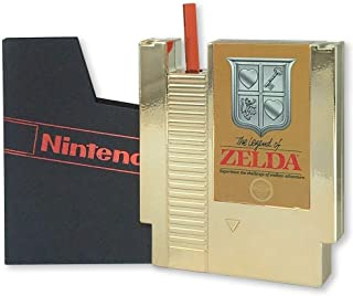Legend of Zelda 5 Ounce Gold NES Cartridge Canteen Flask - Licensed Nintendo Collectibles - Novelty Kitchen and Drink Accessories - Perfect for Birthdays, Holidays, House Warming Parties