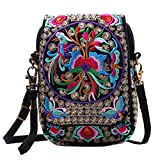 Jiyaru Women Embroidered Purse Cellphone Wallet Crossbody Bag Mini Shoulder Bag Multicolor