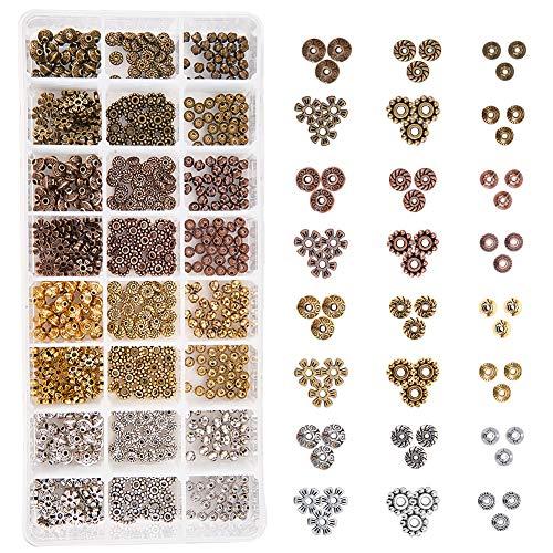 PandaHall Elite 720pcs / Box 6 Stile 4 Farben Tibetische Legierung Spacer Perlen Schmuckzubehör Zubehör für Armband Halskette Schmuckherstellung