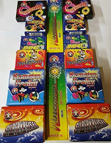 Jugendfeuerwerk I Knallbonbons I Silvester Party I Tisch Feuerwerk I über 150 Effekte MEGA Packung I 14 Packungen XXL Pack I bis 29.12 bestellen und bis 31.12 erhalten
