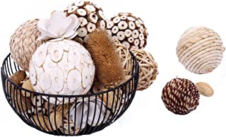 Bag of Assorted Decorative Spherical Natural Woven Twig Rattan and Cotton Bowl and Vase Filler, Balls Spheres Orbs Filler - Brown and White (Brown1)