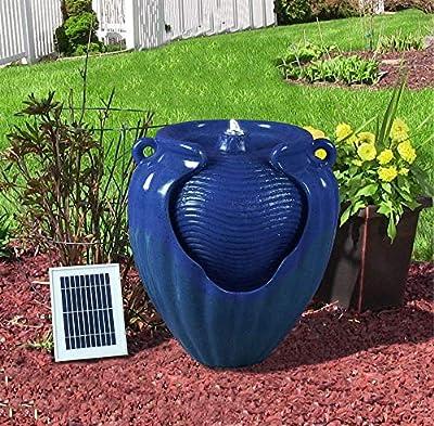 MP Essential Garden Outdoors Solar Ceramic Pot Urn Terracotta Water Fountain Feature