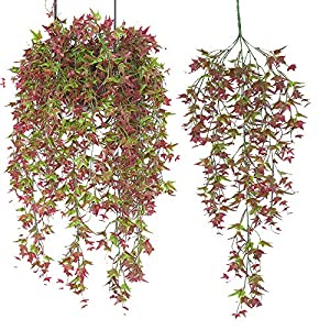 Fycooler Artificial Hanging Vine,Faux Vines Ivy Leaves Outdoor Fake Hanging Plants Luxuriant Wall Hang Garland Porch Patio Arch Balcony Basket Garden Party Wedding Decorations(3pcs 30 inches)