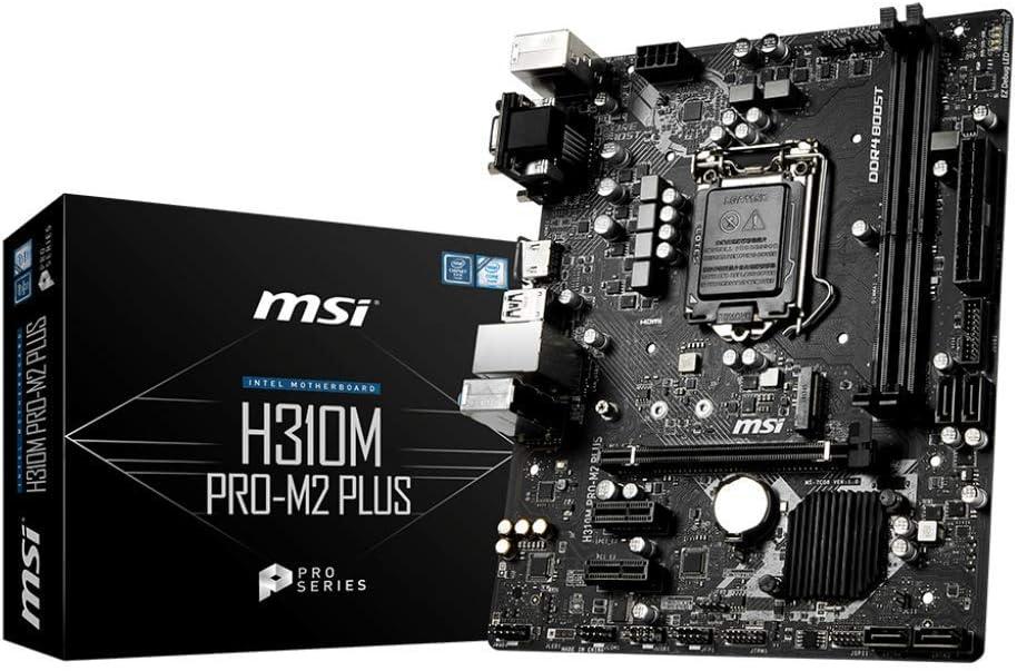 MSI ProSeries Intel Coffee Lake H310 LGA 1151 DDR4 D-Sub DVI HDMI Onboard Graphics Micro ATX Motherboard (H310M PRO-M2 Plus) (Renewed)