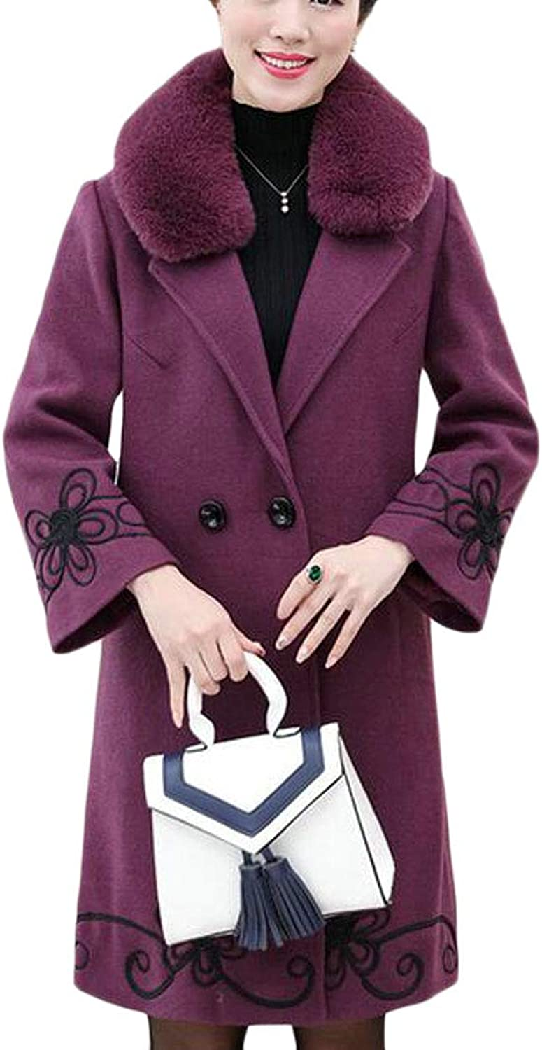 Jotebriyo Womens Embroidery Faux Fur Collar Wool Blend Winter Trench Jacket Pea Coat Overcoat
