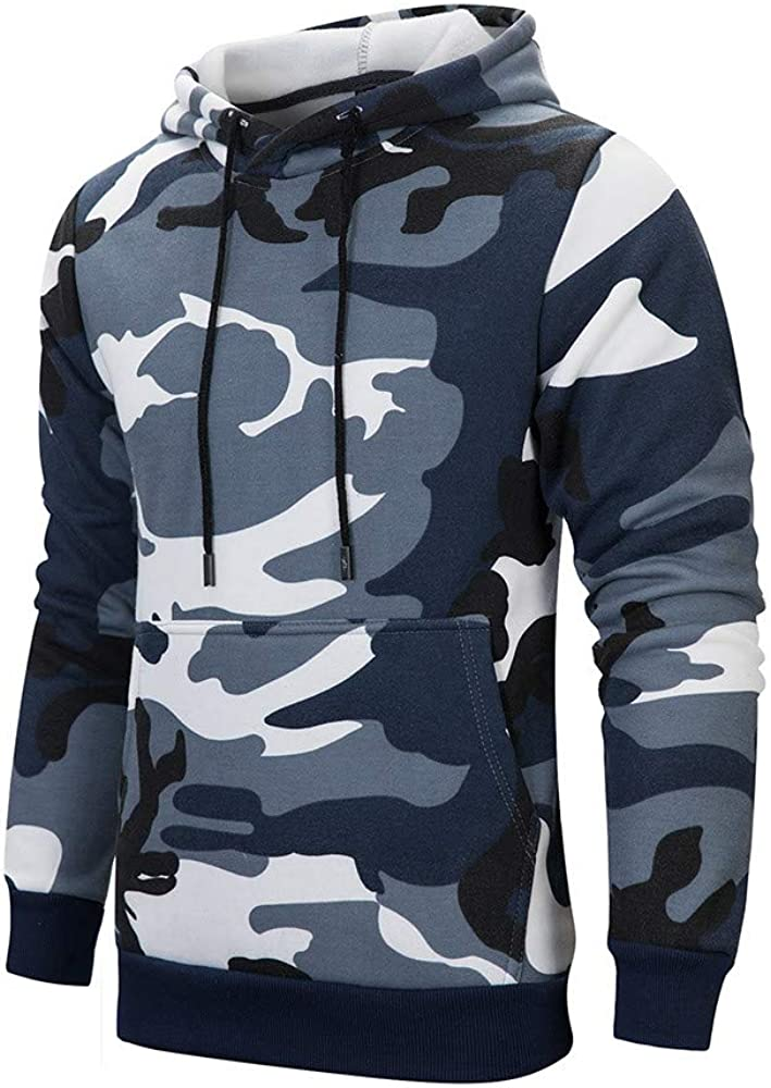 Hoodies Men Camouflage Loose Long Sleeve Sweatshirt Casual Pullover Workout Sports Sweater Hoodies