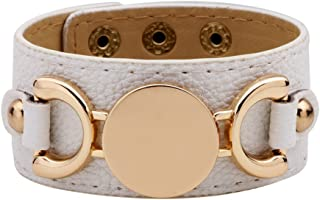 yingyue Fashion Faux Leather Wide Band Round Metal Bracelet Adjustable Bangle Women Jewelry Gift