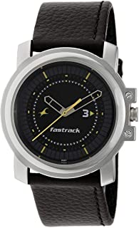 Fastrack Economy Men's Black Dial Leather Band Watch - T3039SL02