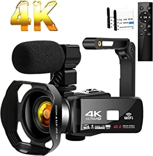 Camcorder 4K HD 48MP Video Camera 18X Digital Zoom IR Night Vision YouTube Camcorder with Portable Handheld Stabilizer?Mic...