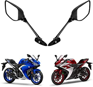 Kemimoto Fits Yamaha YZF R3 Mirrors Motorcycle Rear View Mirrors For YZF R25 2015 2016 2017 Black