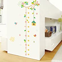 Woodland Arts 20 inches x 48 inches Spring Flowers Vines Leaves Birds Birdcage Animals Measurement Growth Chart Removable Vinyl Wall Decals Stickers for Children Room Nursery