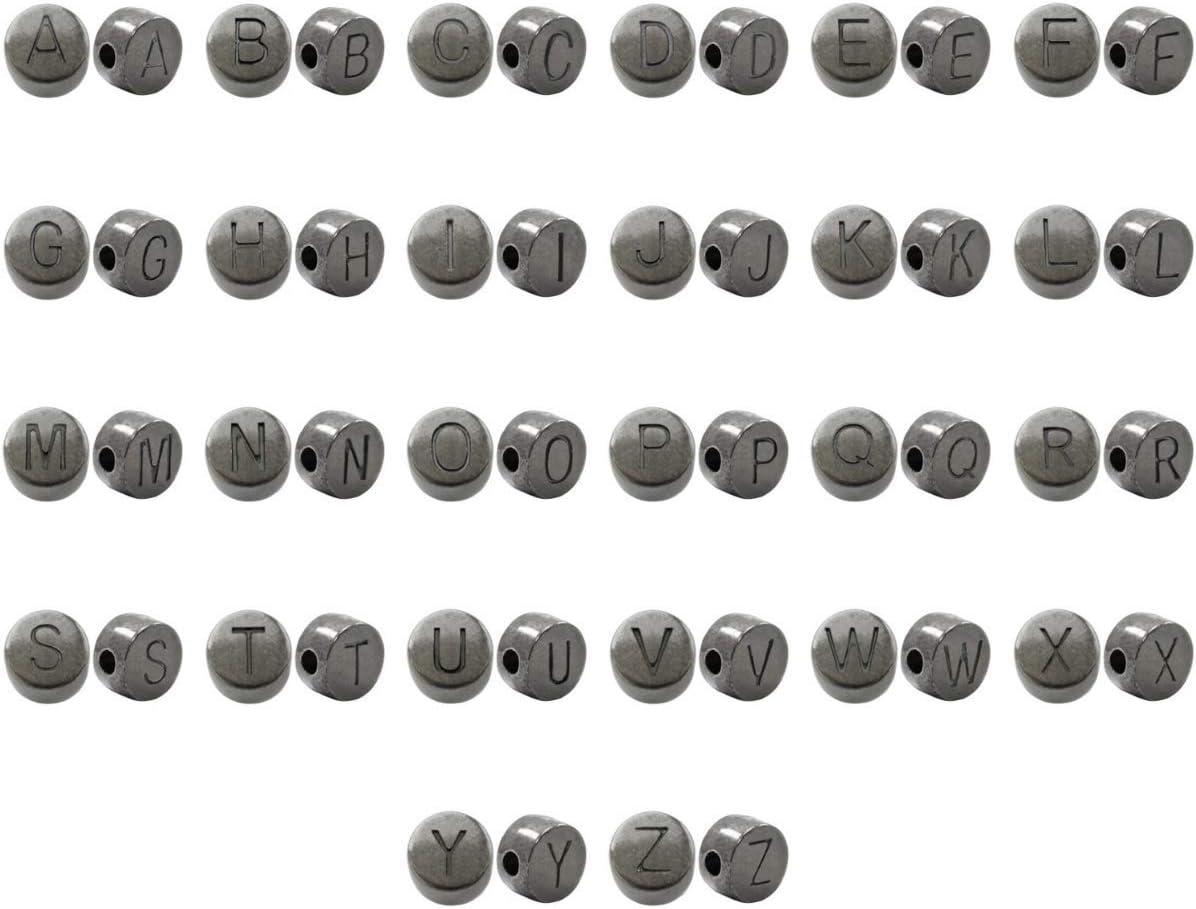 300 Unidades pl/ástico Letras de Perlas Oro o Plata Cuentas Redondas con Letras Sadingo Plata 10 mm