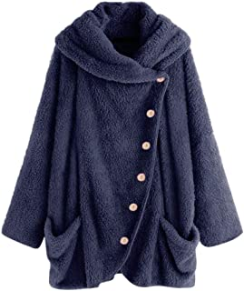 Women Button Coat SolidTops Hooded Pullover Loose Sweater Blouse Plus Size