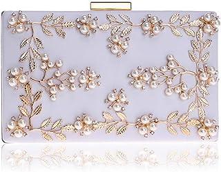 Women's Evening Clutch Bags Pearl Beaded Dinner Handbag for Prom Bride Wedding Wallet,White,4 * 12 * 20cm