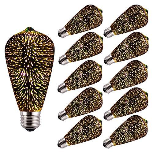 Bombilla LED Edison Estilo Retro Impermeable al aire libre (Bombilla decorativa colorida retro de fuegos artificiales 3D, AC 85-265V ST64) para iluminación decorativa del estado de ánimo, 10 paquetes