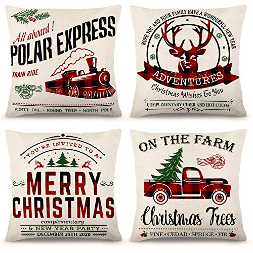 ZJHAI Christmas Pillow Covers 18×18 Inch Set of 4 Black and Red Buffalo Plaid Farmhouse Pillow Covers Holiday Rustic Linen Pillow Case for Sofa Couch Christmas Decorations Throw Pillow Covers
